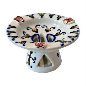 Faience Hand Painted Pottery Pedestal Ashtray